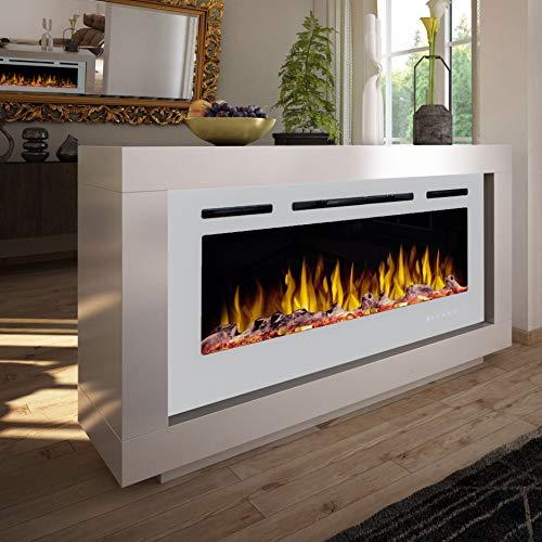 Noble Flame Nevada – moderner Design Elektrokamin Raumteiler beidseitig – LED Feuerambiente inkl. Heizfunktion – Feuerraum 97 cm - weiß