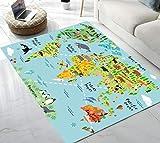 Area Rug Animal World Map Area Rug for Living Room Bedroom Playing Room 5'x6'