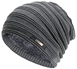 Casual Knitting Wool Beanie Hat Winter Warm Velvet Hat Outdoor Men's Fashion Beanie Cap Korean Style.Momoon Dark Gray