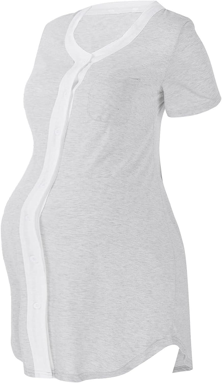 YOOJIA Women's Maternity Washington Mall 2021 new Sleepwear Short Nursing Sleev Nightgown
