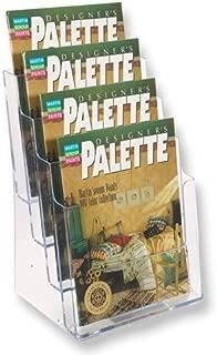 SourceOne Premium 4-Tier Magazine and Brochure Holder – Clear Acrylic Countertop Organizer