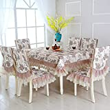 JHLP Mantel de Mesa para Fiestas 13pcs / Set Mantel Rectangular Bordado Floral Mantel para la Mesa de Comedor de Bodas con Fundas para sillas toalha de Mesa-fuguihuaga_About_150x200cm