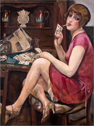 Posterlounge Leinwandbild 50 x 70 cm: Königin der Herzen von Gerda Wegener - fertiges Wandbild, Bild auf Keilrahmen, Fertigbild auf echter Leinwand, Leinwanddruck