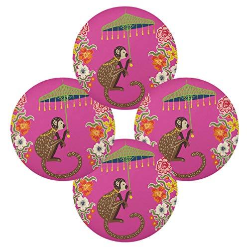 TropicalLife HaJie - Juego de 4 manteles individuales de mono chino, antideslizantes, resistentes al calor, para decoración del hogar, vacaciones, fiesta, comedor