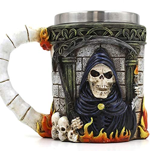 Reutilizable Taza de café Creativa Taza de Halloween Esqueleto Muerte Diseño gótico Jarra de cerveza Tazas 3D Tazas y taza de café MEJOR Regalo del Día del Padre de Halloween ( Capacity : 601