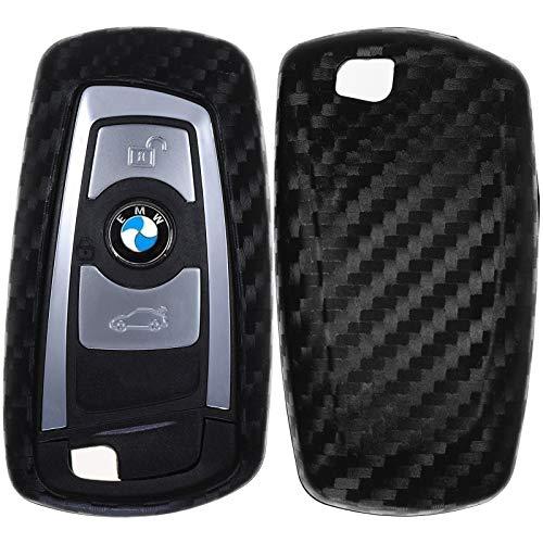 Carbon Soft Case Schutz Hülle Auto Keyless Schlüssel kompatibel mit BMW F30 F32 F26 F01 F07 F12 F10 F06 F03 F25 F13 F11