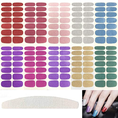 10 Pieces Nail Polish Stickers,Full Nail Wraps Solid Color Nail Stickers with Large Nail Files, Assorted Colors
