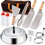 Leonyo Griddle Accessories Set of 10, Stainless Steel Grill Griddle Metal Spatula for Cast Iron Flat Top Teppanyaki Hibachi Cooking, Carry Bag, Heavy Duty Chef Gift, Melting Dome
