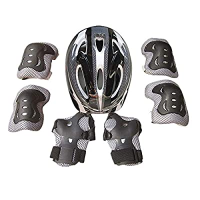 Kids Multi-Sport Protective Gear Set, 7PCS Knee Elbow Pads Wrist Guards for Bike Skateboard Scooter Skating 3-9 Years (Black-A, 3-9 Years)