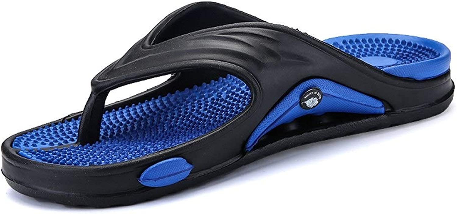 Slippers Men's Rubber Flip Flops Thong Outdoor Home Shower Sandals Healthy Massage Insole Slippers (color   blueee, Size   6.5 UK)