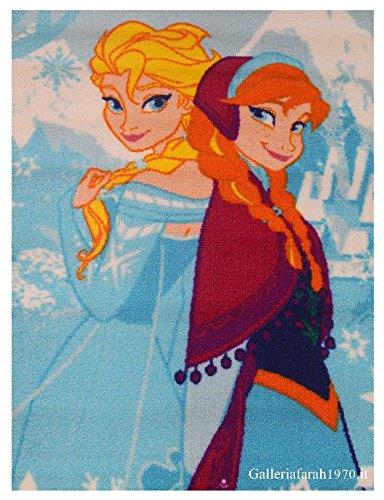 Tapis pour enfant coloré, imprimé La Reine des neiges, Anna et Elsa, disponible en 2 tailles, 80 x 140 cm (2'6\