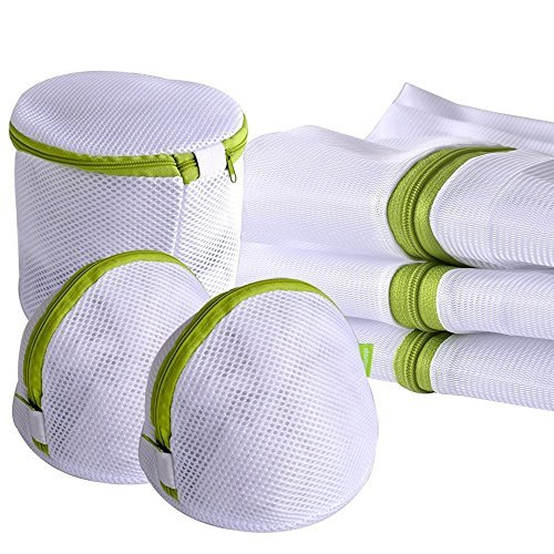 Laundry Wash Bags,Hituus Pack of 6 Mesh Storage Washing Bag for Laundry, Blouse, Hosiery, Stocking, Underwear, Bra and Lingerie, Travel Laundry Bag (Green)