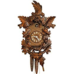 German Cuckoo Clock 1-day-movement Carved-Style 15.00 inch - Authentic black forest cuckoo clock by Hekas