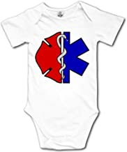 Fire Rescue Scrabble Maltese Printed Baby Boy Girl Short-Sleeved Playsuit Outfit Clothes