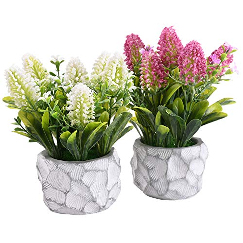 LUEUR 2Pcs Artificial Pot Flowers Faux Lavender Potted Fake Flower Arrangements in Slurry Pots for Home Office Farmhouse Decoration Table Centerpieces Shelf Small Plant Decor