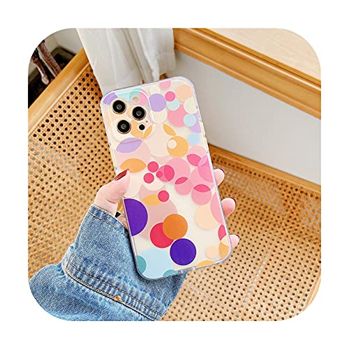 Lindo color mezcla spot claro teléfono caso para iPhone X XR XS 12 mini 11 Pro Max SE 2020 7 8 Plus cubierta moda protectora suave casos - KL434-1-for-iPhone7