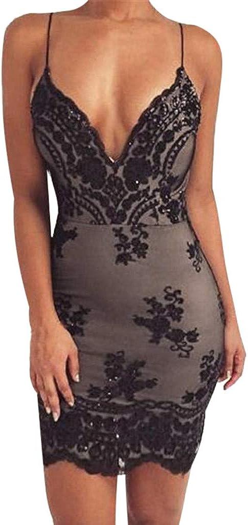 Backless Dresses Bodycon Mini Dress for Women Sexy Deep V Halter Choker Slit
