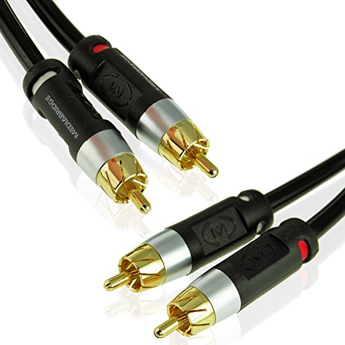 Mediabridge Stereo Cable with Left and Right Audio (12 Feet) - RCA to RCA Gold-Plated Connectors - (Part# MPC-ALR-12B)
