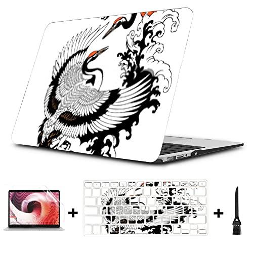 Custodia compatibile con Macbook Pro Two Flying Cranes Water Waves Red Print per MacBook Pro 15' (NESSUN CD-ROM, con display Retina) A1398 Custodia in plastica Cover per tastiera e protezione per lo