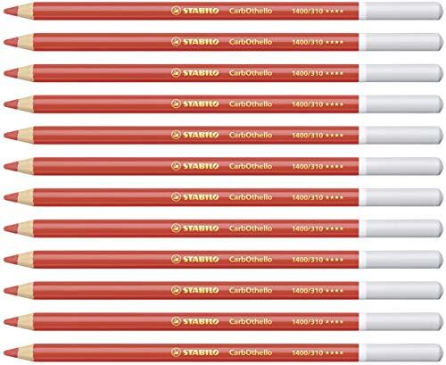 Lápiz de color tiza-pastel STABILO CarbOthello - Caja con 12 unidades - Color rojo carmín