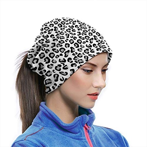 Haloxa Neck Gaiter Warmer Windproof Mask Dust - Free UV Face Mask - Black White Panther Leopard Sk