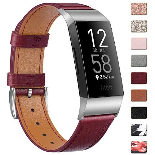 """Wanme Kompatibel mit Fitbit Charge 4 Armband/Fitbit Charge 3 Armband Lederarmband Edelstahl Schnalle Ersatzarmbänder für Fitbit Charge 3 und Fitbit Charge 4 (Wein Rot, 5.5""""-8.1"""")"""