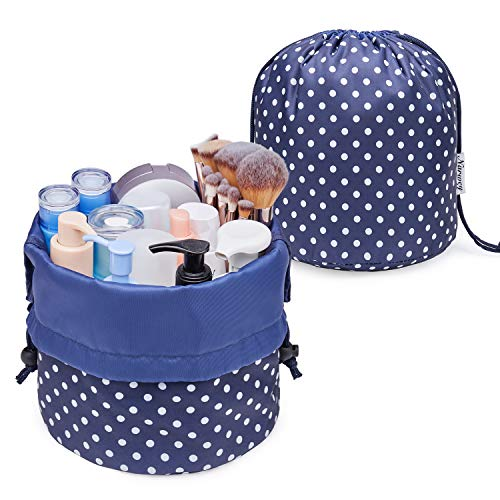 Bolsa de maquillaje de barril de viaje con cordón organizador de artículos de aseo impermeable para mujeres y niñas (grande, lunares y lunares)