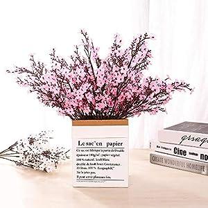 Silk Flower Arrangements LUSHIDI 6PCS Artificial Baby Breath Flowers Fake Silk Real Touch DIY Floral Bouquets Decor Wedding Party Decoration Arrangements(Pink)