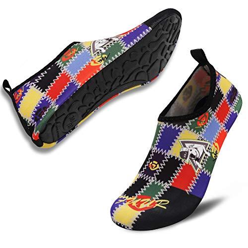 VIFUUR Unisex Quick Drying Aqua Water Shoes Pool Beach Yoga Exercise Shoes for Men Women Lucky Dog 36/37