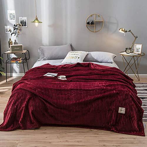 Hllhpc Gestreepte Melk Fluwelen Koffie Reizen Deken Flanellen Deken Queen King Volwassen Alle seizoenen Slaapbank Bed