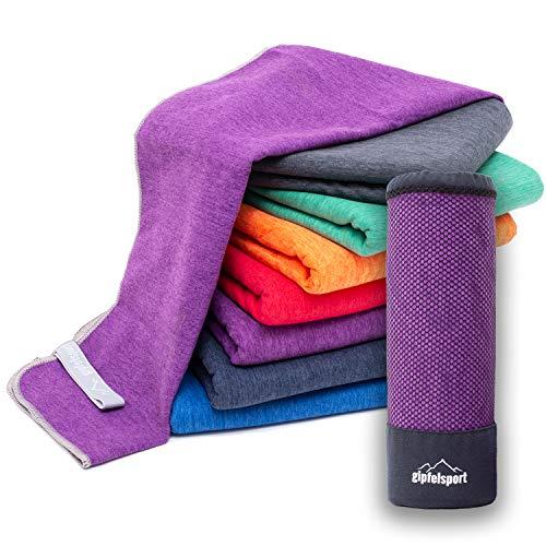 Mikrofaser Handtuch Set 'Brush' - Microfaser Handtücher mit Tasche für Sauna, Fitness, Sport I Set1 1x S(80x40cm) & 1x L(140x70cm) | Lila