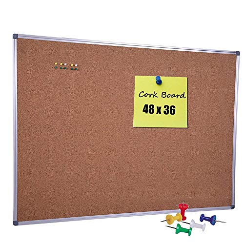 DexBoard Large Cork Board 48 x 36 Inch with Satin-Finished Aluminum Frame, Notice Bulletin Board Memo Pin Board for Office and Home Usage, Ten Free Pins Included