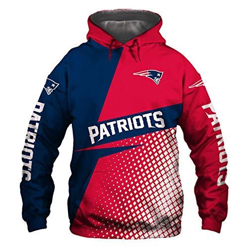 HS-HWH316 American Football Hoodie Neuengland Patrioten Sweatshirt 3D Printed Sweater Breathable Anti-Pilling Soft Casual Wear Outdoor-Sportarten Feiern Sie Den Super Bowl Fans Souvenirs,4XL
