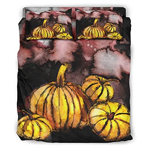 Wandlovers Juego de cama de 4 piezas, diseño de calabazas, impresión supersuave, funda nórdica y funda de almohada, color blanco, 203 x 230 cm