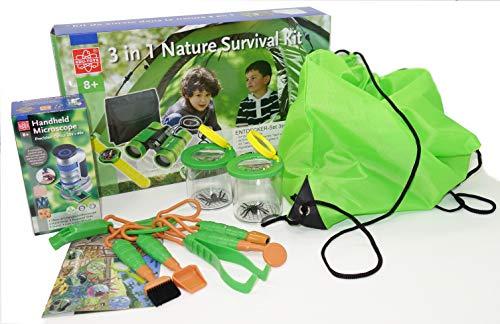 MEDUP Riesiges Outdoor Naturforscher Paket mit Fernglas, Kompass, Lampe, Taschenmikroskop, 2 Becherlupen, Werkzeugset in praktischem Rucksackbeutel