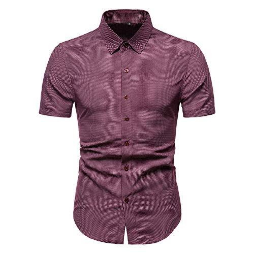 Whittie Chemise à Pois imprimé Revers pour Hommes Slim Check T-Shirt Mode d'été à Manches Courtes,Red,S