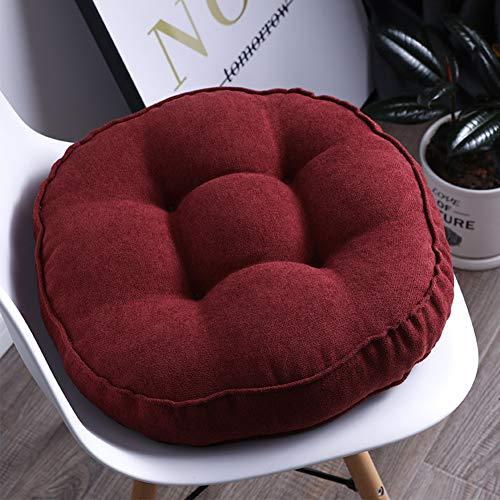 YANNI Lounge kussen zitkussen, ronde 10 cm dikke stoel pad rotan outdoor tuin patio stoel kussen 45x45x10cm(18x18x4inch) Rode Wijn