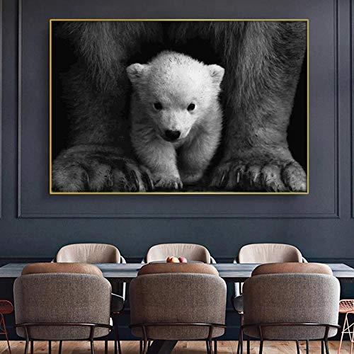 PGMZQHGF Oso Polar Núcleo Blanco y Negro Animal Poster Mural Dormitorio Familiar Habitación de los niños Dormitorio Decoración de la Pared Arte de la Lona | 60x80cm Sin Marco