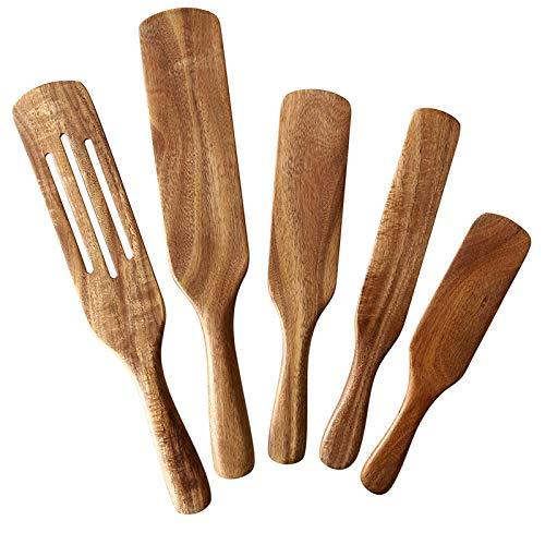 jeerbly Jeerbly - Juego de 5 utensilios de cocina de madera, resistente al calor, 5pac europeo, antiadherente, fácil de limpiar
