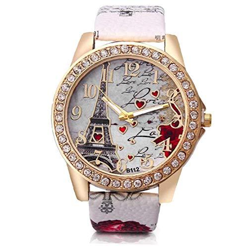 Hiinice Las Mujeres del Reloj Análogo del Movimiento del Cuarzo con Cuero Brazalete Torre Eiffel Patrón Dial Reloj De Pulsera (Blanco, Batería Incluida) Herramientas Convenientes