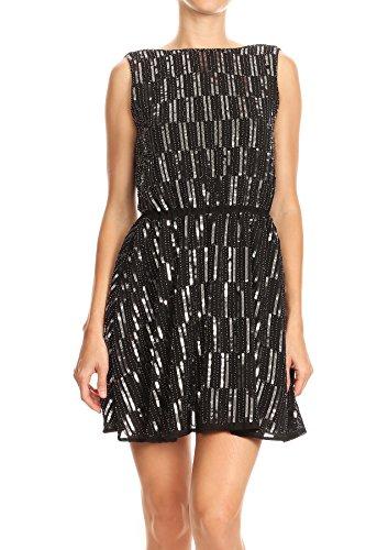 VIJIV Womens Elegant Stretchy High Waist Sequin Pencil Skirt Midi Sparkle Glitter Bridesmaid Skirts Party Black Small