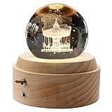 誕生日プレゼント オルゴール クリスタル ボール 間接照明 月のランプ ベッドサイドランプ LEDライト USB充電 おしゃれ 木製 手作り 結婚記念日 結婚祝い 卒業祝い クリスマス プレゼント 女性 雑貨 かわいい 雰囲気 癒しグッズ 投影効果 (メリーゴーランド-君をのせて)