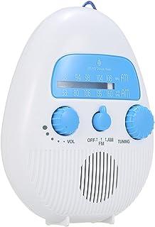KESOTO Rádio portátil para chuveiro à prova d'água botão FM Alça de volume ajustável IPX4 para banheiro interno externo, c...