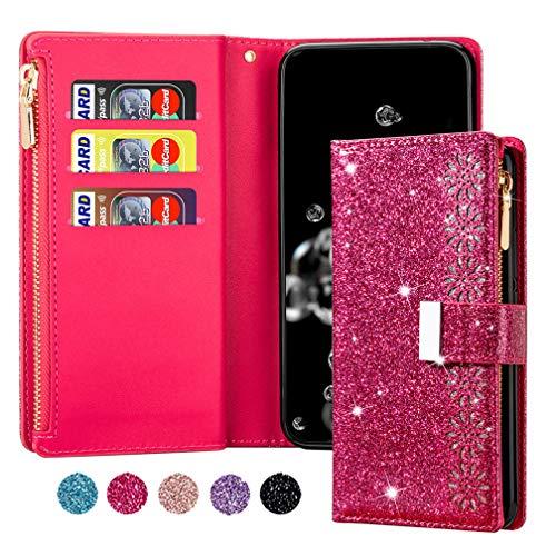 ColiColi Funda para Samsung Galaxy A12 5G, funda de piel con purpurina, cartera, con cierre magnético, tarjetero, función atril, color rojo