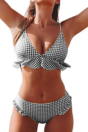 CUPSHE Women's Rambling Rose High-Waisted Push Up Bikini Set (Large (USA 12/14), Black White)