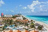 HRUIO Rompecabezas De Colores 500 Piezas Playa de Cancún, MéxicoRompecabezas Adultos 500 Piezasjuegos de puzles Familiares Regalos de cumpleaños-52*38cm