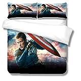 Itscominghome Designer-Bett von Captain America, mit 1 Tagesdecke & 2 Kissenbezügen, 100 prozent Mikrofaser, 3D-Digitaldruck (A01,220 x 260 cm)