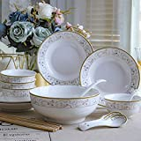 WHWH Bone Porcelain Tableware Chinese Household 18 Piece Set with Soup Bowl-Pearl Union_