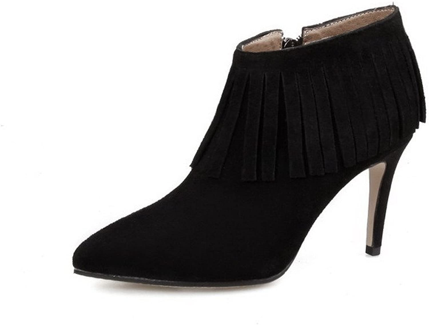 WeenFashion Women's Cow Imitated Suede High-Heels Pointed-Toe Boots with Slipping Sole and Stiletto
