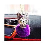SHOYY Colgante Coche del Gato decoración de Bolas Encantador Lindo del Estilo Chino de la Suerte del Rhinestone Colgante de la Historieta Adornos Accesorios for automóviles (Color Name : Purple)